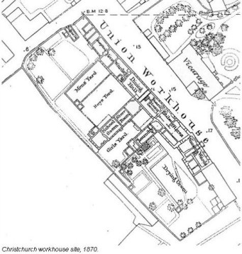 Christchurch Union Work, Quay Road, Christchurch, Dorset - Plan of the Site in 1870