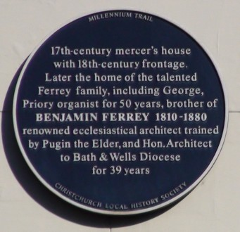 Plaque on 6 / 6a Castle Street where Benjamin Ferrey lived | Hydralib