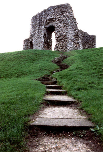 Ruins of Christchurch Castle, Dorset. Ruins stand on a mound | CHS Archive