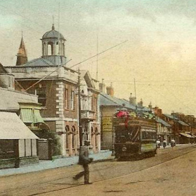 Tram in Christchurch High Street, Dorset | CHS Archive