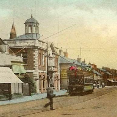 Tram in Christchurch High Street, Dorset | CHS Archive