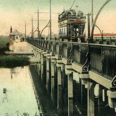 Tram crossing Tuckton Bridge over River Stour, Christchurch, Dorset | CHS Archives