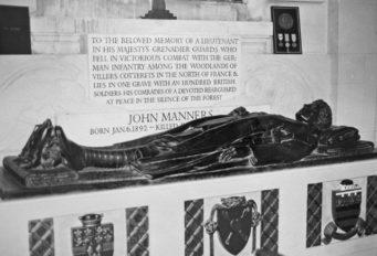 Bronze effigy of 2nd Lieutentant John Neville Manners in All Saints Church, Thorney Hill