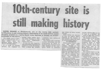 Article from Evening Echo on September 28th 1983 about the Saxon Cross